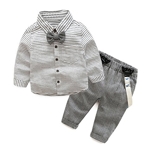 Tem Doger Baby Boys Long Sleeve Woven Striped Shirt+Bowtie+Suspender Pants With Straps Outfit (70/3-6 Months) (70 Party Clothes)
