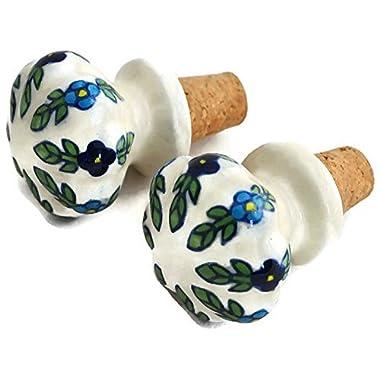 Christmas Holiday Gifts Deal StarZebra Handmade Hand Painted Ceramic Wine Bottle Stopper - Set of 2 (White Green)