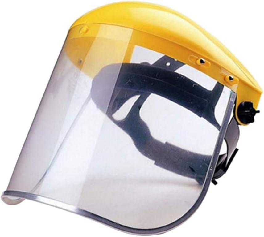 Garneck Protector Facial de Seguridad Protector Facial Transparente Protección para Los Ojos Y La Cabeza con Casco de Trinquete Máscara Protectora para La Cara Amarilla