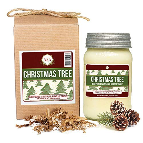 Aira Soy Candles - Organic, Kosher, Vegan, in Mason Jar w/Essential Oils - Hand-Poured 100% Soy Candle Wax - Paraffin Free, Burns 110+ Hours - Holiday Candle - Christmas Tree Scent - 16 Ounces