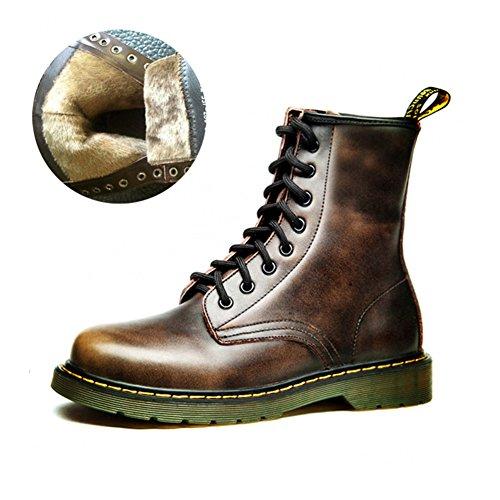 Scarpe casual maschile vestito alpinismo autunno all'aperto francesina stivali slip on marrone-nero-E Lunghezza piede=38.5EU