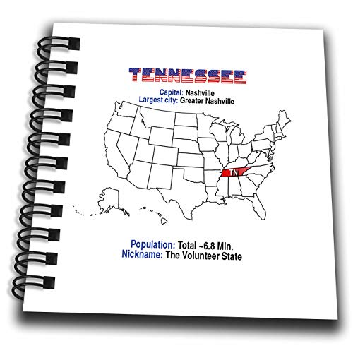 3dRose Alexis Design - American States - Tennessee State of The USA, American map, Facts, Practical Details - Mini Notepad 4 x 4 inch (db_307573_3)