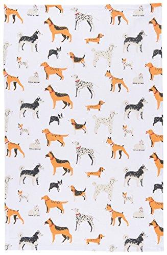 Now Designs Cotton Kitchen Towel, Dog Days Print