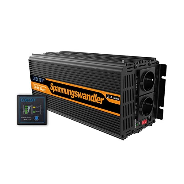 51jXS%2Bael5L EDECOA Spannungswandler 2000W Modifizierte Sinus Wechselrichter 12V 230V 2x USB und Fernbedienung wechselrichter…