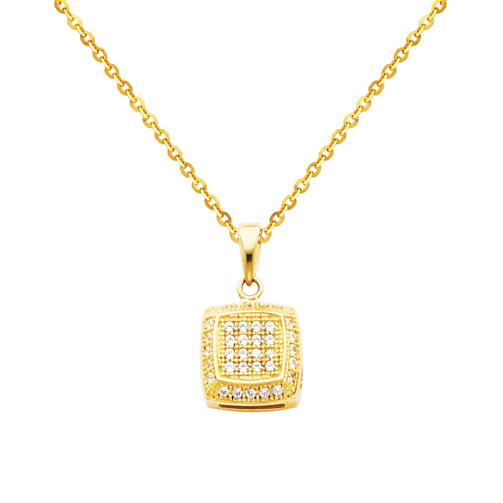 14k Yellow Gold Rounded Square CZ Pendant with 1.2mm Cable Chain Necklace