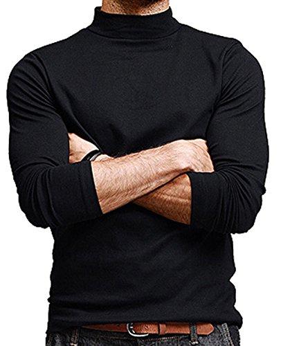 CantonWalker Men Turtle Neckline Long Sleeves Slim Fit T-Shirts (Black, XL)