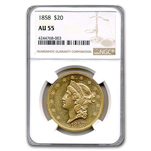 1858 $20 Liberty Gold Double Eagle AU-55 NGC G$20 AU-55 NGC