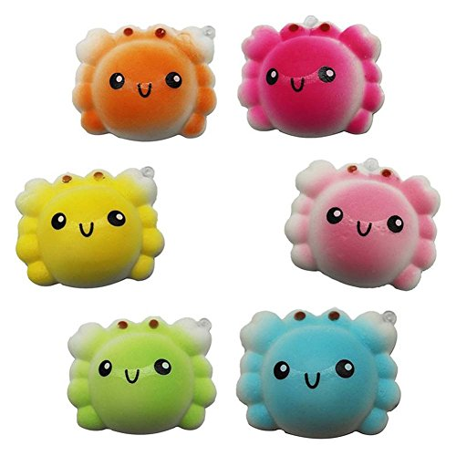 Stress Reliever Key - fomoisclU Slow Rising Soft Toy Squishies Jumbo Squishy Scented 4pcs Kawaii Crab Squeeze Toys Stress Reliever Key Chain Charm Pendent Party Bag Fillers Gift Party Favors for Kids Boys Girls Adults