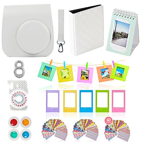 Fujifilm Instax Mini 9 or Mini 8 Instant Film Camera Accessories Bundle. White 11 Piece Gift Box Fuji Accessories Kit Includes: Case + Strap, Fujifilm Albums, Filters, Selfie Lens, 60 Stickers & More