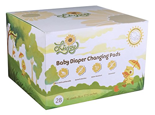 LivJoy Baby Diaper Disposable Changing Pads - Portable Infant Toddler 100% Waterproof Mats, 26 x 17.5 Inches Large Sanitary Covers for Changing Tables at Home Travel, 28 Pack Germ Free Premium Liners  (Pad Use Multi Waterproof)