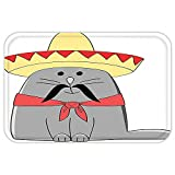 VROSELV Custom Door MatCat Lover Decor Collection Modern Illustration of Latino Kitten with Mexican Hat and Moustache Artsy Mascot Grey White Red