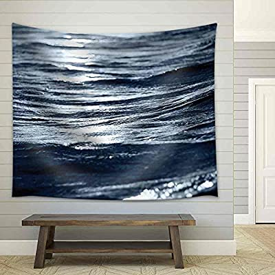 Majestic Print, Classic Design, Sea Wave Close Up at Night Low Angle View Fabric Wall