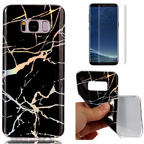 8 Plus Marble Case Black,OYIME Glitter Plating Pattern Design Glossy Clear Silicone Slim Thin Soft Protective Back Cover Drop Protection Transparent Bumper and Screen Protector (Classy Marble)