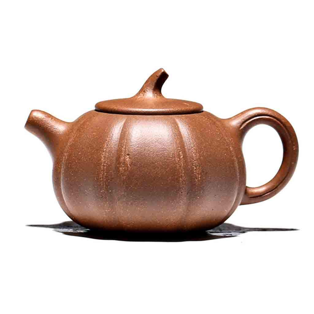Tea Cozies Zisha Pot Pure Handmade ore Old Section mud Pumpkin Pot kung fu teapot Set Non-Ceramic Full Hand-Painted teapot (Color : Brown, Size : 11x7cm)