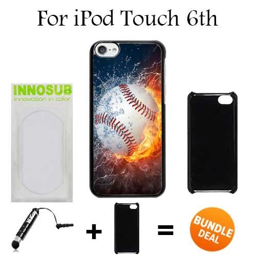 Ice and Fire Powerful Baseball Custom iPod 6/6th Generation Cases-Black-Plastic,Bundle 2in1 Comes with Custom Case/Universal Stylus Pen by innosub (Baseball Kindle Fire Hd Case)