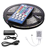 Image of LED Light Strip Kit Waterproof 5050 SMD RGBW  Rope Lights 16.4 Feet 300 Leds  Flexible Color Changing  Tape Light  with 40 Key IR Remote Controller and 12V 5A Power Supply for Home Party Decoration