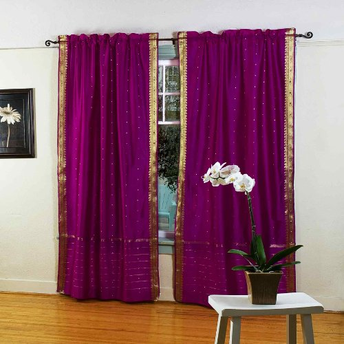 Violet Red 84-inch Rod Pocket Sheer Sari Curtain Panel (India) - Pair (India Curtain Panels)