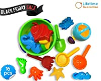 Beach Bucket Sandbox Toys Set, Small 16 Pcs with Convenient Zippered Bag Baby Pool Water Table & Kinetic Sand Molds. Best Tub Bath Toys for Toddlers, Outdoor Creativity for Kids + Funnel & Hand Tools from Toys Icon