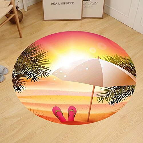 Gzhihine Custom round floor mat Orange Sunset at the Beach with Flip Flops Umbrella and Palm Trees Bedroom Living Room Dorm Orange and - Beach Palm Outlet Stores At