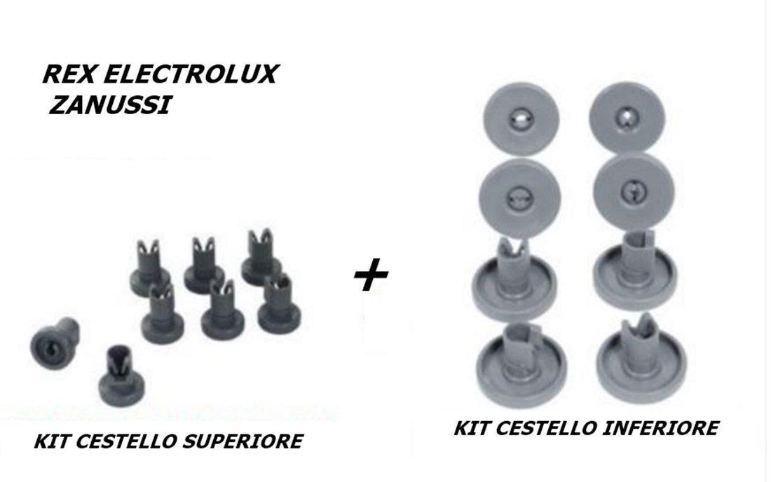 Rex Electrolux Zanussi Set mit 16/Rollen f/ür Ober und Unterkorb von Sp/ülmaschinen