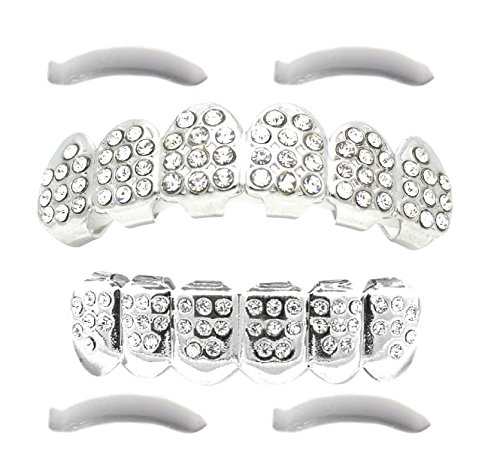 [24K White Gold Plated Iced Out Grillz With CZ Diamonds + 2 EXTRA Molding Bars] (2 Person Halloween Costume)