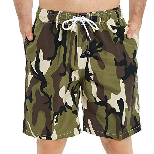 Kailua Surf Mens Swim Trunks Long, Quick Dry Mens Boardshorts, 9 Inches Inseam Mens Bathing Suits with Mesh Lining (XL, Camo Green)]()