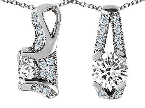 Star K 8mm Round White Topaz Designer Pendant Necklace Sterling Silver (Sterling Pendant Silver Topaz Slide)