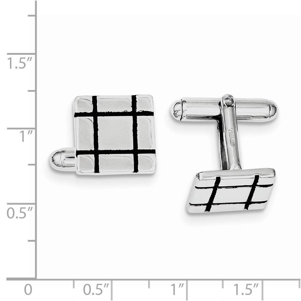 925 Sterling Silver Solid Polished Black Enamel Grooved Square Cuff Links