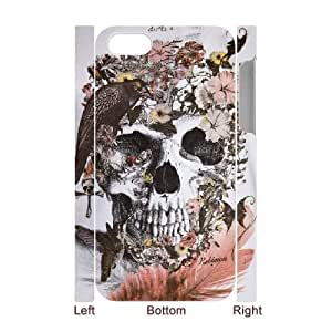 3D Birl Skull Skeleton IPhone 4/4s Case, Dustin - White