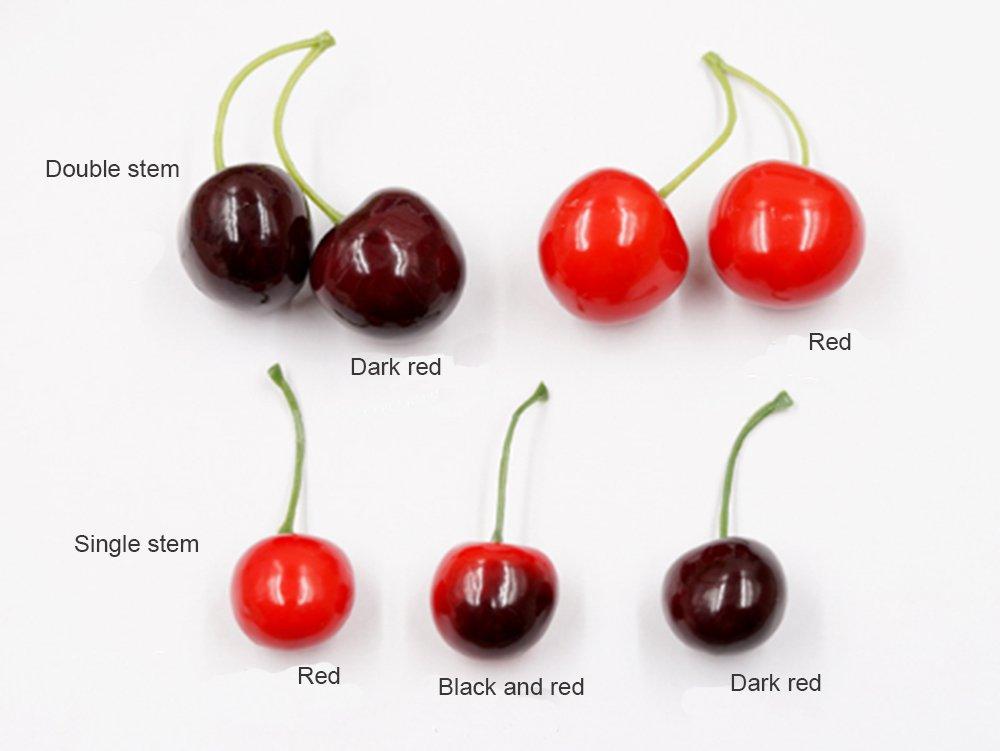 GRT haute simulation artificielle sucr/ée cerise fruit /échantillon Faux cerise ensemble de 40 Rouge