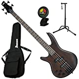 Ibanez GSR200BLWNF LEFT-HANDED 4 String Electric Bass (Walnut Flat) w/ Gig Bag, Tuner, and Stand