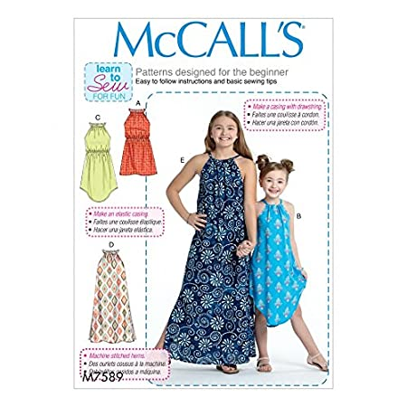 McCalls Girls Easy Learn to Sew Sewing Pattern 7589 Sleeveless ...