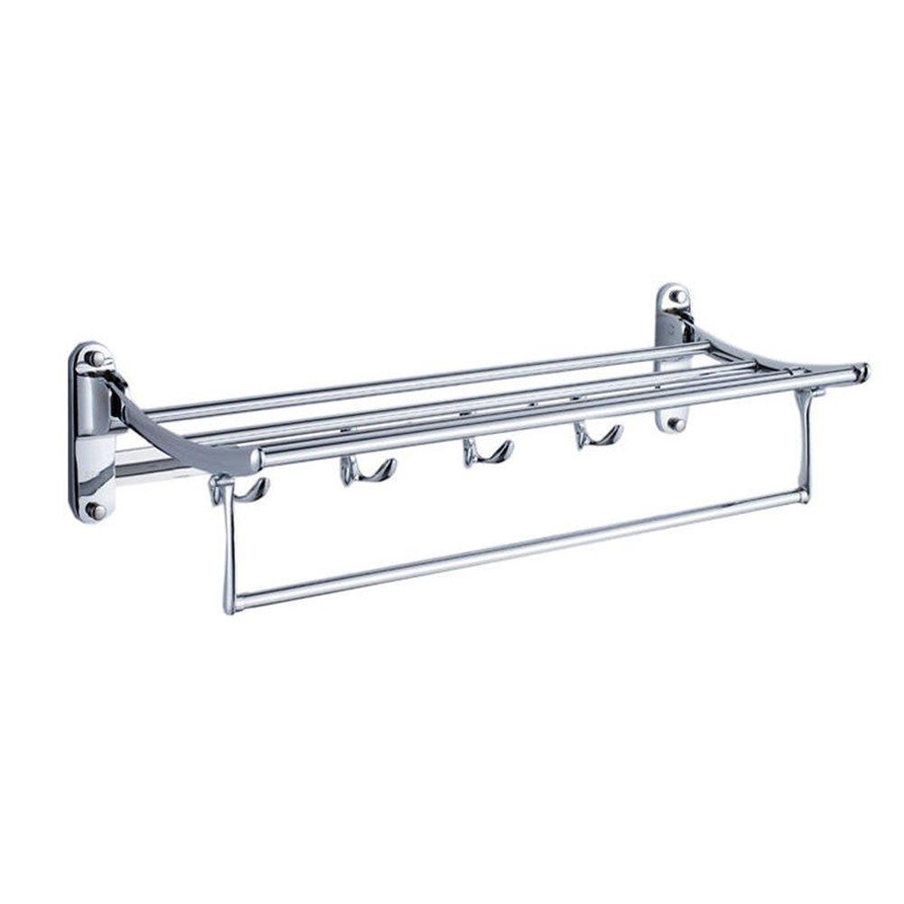 GARBNOIRE 202 Grade Stainless Steel 2 feet Long Folding Bathroom Towel Rack/Swivel Towel Bar, Stainless Steel Wall Mounted Shelf Organization for Storage Hanging Holder Above Toilet/Hotel/Home