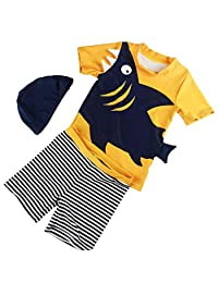 Rashguard and Shorts Set for Boys,2 Piece Sun Protection with Hat Swimsuit Animals Printed Bathing Suit 2-3T