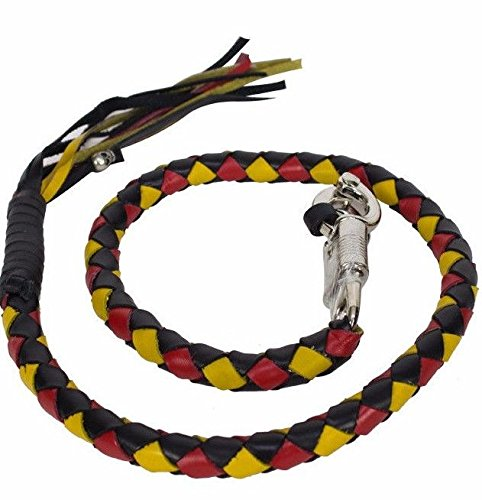 Dealer BIKER BLACK YELLOW RED 40'' LEATHER GET BACK WHIP MOTORCYCLE WHIP OLD SCHOOL by Dealer (Image #4)