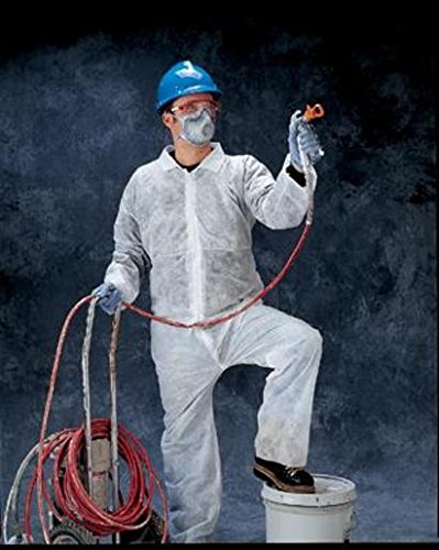 Radnor Large White Spunbond Polypropylene Disposable Coveralls With Front Zipper Closure