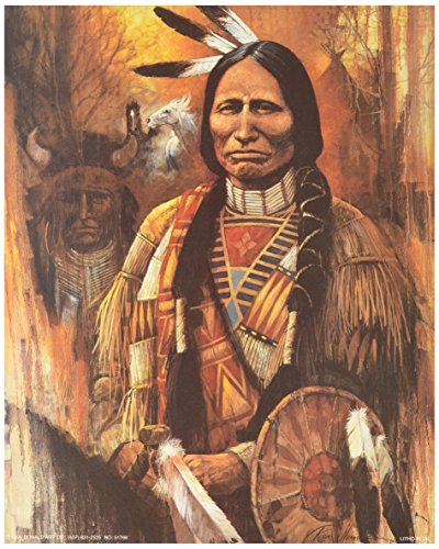 5 Native American Indian Art Prints Chief Western Decor Poster