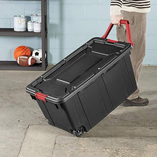 Sterilite 14699002 40 Gallon/151 Liter Wheeled Industrial Tote, Black Lid & Base w/Racer Red Handle & Latches, 2-Pack
