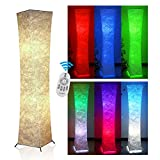 Floor Lamp,Fy-Light 52' Twist Column Remote Control Fabric Modern Holmo Floor Lamp with 2 Colour Bulbs Simple Natural Warm Atmosphere RGB Floor Lamps for Living Room, Bedroom