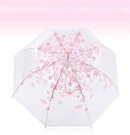 BiuTeFang Paraguas Sakura paraguas transparente paraguas rosado paraguas encantador 80x80cm