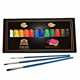 Acrylic paint 12 Set by Crafts 4 All For Paper,canvas,wood,ceramic,fabric & crafts.Non toxic & Vibrant colors. Rich Pigments With Lasting Quality - For Beginners, Students. 3 FREE BRUSHES