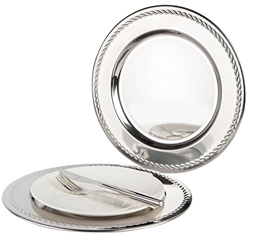 Set of 6 Stainless Steel Charger Plates With Swirl 30.5cm. High Polished Thick and Heavy Quality by The Charger Plate Co