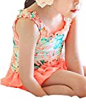 Molly Children Beach Party Casual Sweet Vintage Floral Swimsuit M Orange