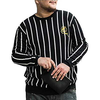Discount ouxiuli Men Long Sleeve Plus Size Striped Pullover Knit Sweater hot sale