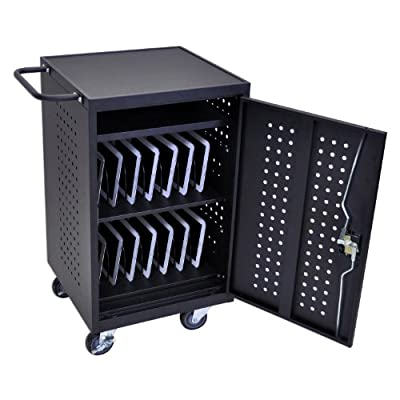 Luxor 30 Device Storage Tablet Computer Charging Cart Black