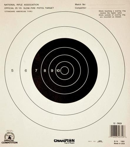 - Champion GB-16 25-yard Pistol Slow Fire NRA Paper Target (Pack of 12 Sheets)
