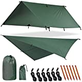 Yztree Military Tarp Tent Waterproof Fly Tent Tarp Camping Shelter 10x10ft for Any Weather 6 Aluminum and 6 Arion Stakes Included Fly Rain Tent Tarps (Military Green)