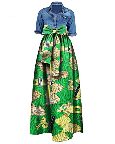 can Print Dashiki Dress Long Maxi A Line Skirt Ball Gown (M, Tender Green) (Medium Womens Skirt Dress)