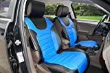 180207 Black/blue-2 Front Car Seat Cover Cushions Leather Like Vinyl, Compatible to Toyota FJ Cruiser 2017-2007