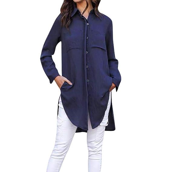 Bestow Camisa Frontal para Mujer Tops de Oficina Camisa de Manga Larga Dividida en Color s